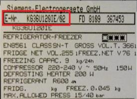 tabliczka znamionowa Siemens lodówka