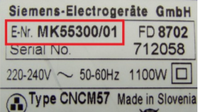 tabliczka znamionowa Siemens piekarnik