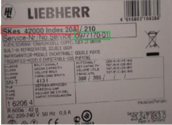 tabliczka znamionowa Liebherr - lodówka