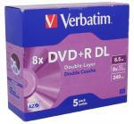 Płyta DVD+R DL Dual Layer 5szt. Verbatim (1V2-B9-CL2S-QPD)