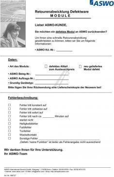 FEHLERBESCHREIBUNG formularz A4 opisu błędu modułu, niemiecki, angielski
