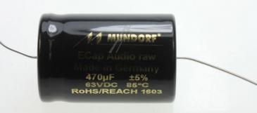 ECAP63470 470UF63V AUDIO ELKO AXIAL 85° 25X38MM BIPOLAR RAU MUNDORF