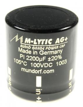 MLGO+1002200 2200UF100V AUDIO FILTER-ELKO RADIAL 105° 35X35MM 4-POLIG MUNDORF