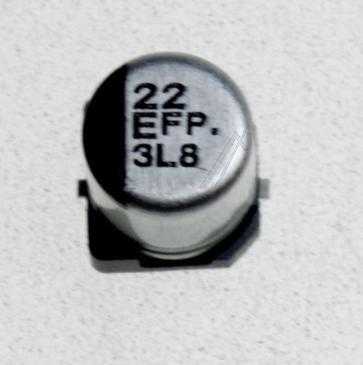 22UF25V SMD-ELKO PAN 85° 5X5,8MM -ROHS-KONFORM- PANASONIC