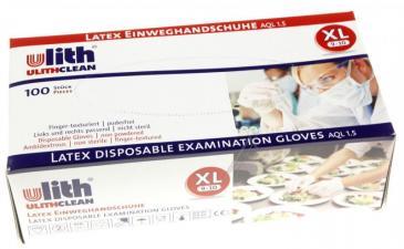 LATEX-EINWEGHANDSCHUHE GRÖSSE XL (9-10) 100 STÜCK UNGEPUDERT