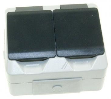 FSD200 FEUCHTRAUMSTECKDOSE,2-FACH, IP44 AP - GRAU ASCI