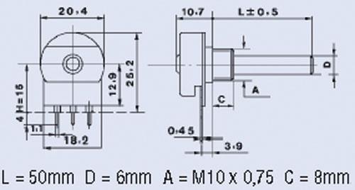 0.4W Potencjometr obrotowy,0