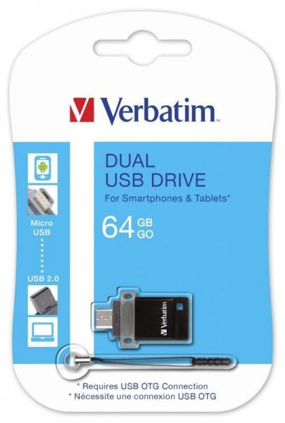 Pendrive | Pamięć USB 2.0 64GB podwójny dysk - OTG Verbatim 49844,1