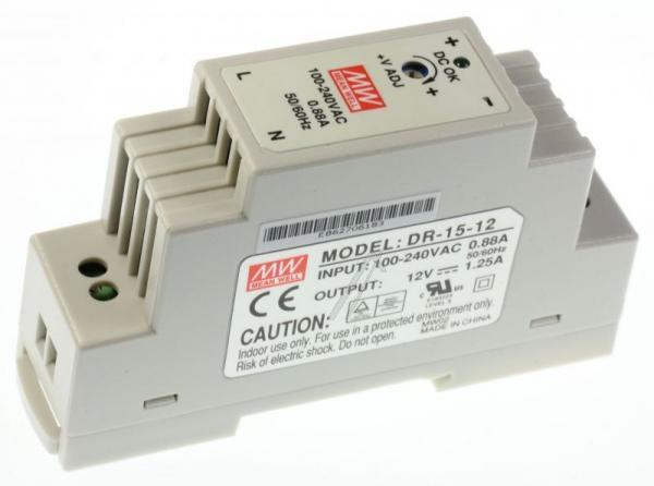DR1512 12VDC1250MA15W HUTSCHIENENNETZTEIL MEAN WELL,0