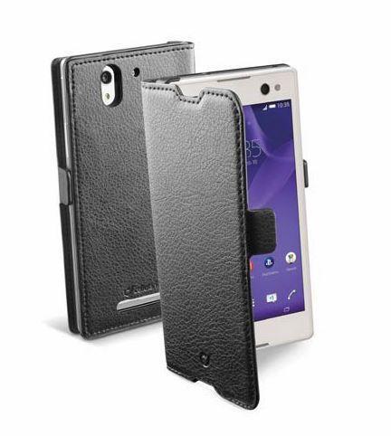 Pokrowiec | Etui classic Wallet Book Case sztuczna skóra do smartfona Sony Xperia C3 Cellular line 363811 (czarny),0