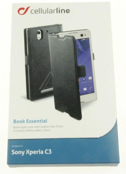 Pokrowiec | Etui classic Wallet Book Case sztuczna skóra do smartfona Sony Xperia C3 Cellular line 363811 (czarny),3
