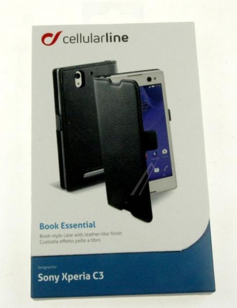 Pokrowiec | Etui classic Wallet Book Case sztuczna skóra do smartfona Sony Xperia C3 Cellular line 363811 (czarny),4
