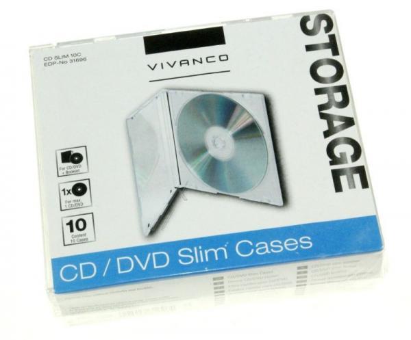 31696 CDSLIM10C CD SLIM CASE FÜR EINE CD, 10ER PACK, TRANSPARENT VIVANCO,0