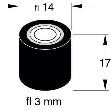 Rolka dociskowa video 3mm x 14mm x 17mm,0