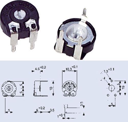 500KPT100,15W potencjometr leżący 5x10mm -piher- -rohs-,0