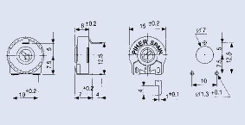 1,0KPT150,25W potencjometr leżący 10x15mm -piher-,0