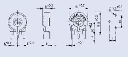 1,0KPT150,25W potencjometr stojący 10x15mm -piher- -rohs-,0