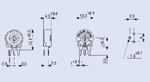 25KPT100,15W potencjometr stojący 2,5x10mm -piher-,0