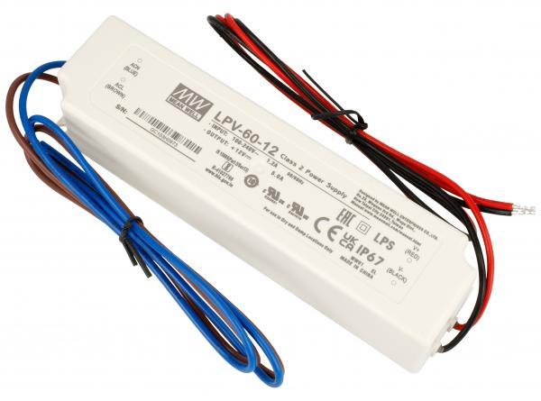 LPV6012 12V60W TRANSFORMATOR FÜR STANDARD-LED 90-264V/AC/12VDC MEAN WELL,0