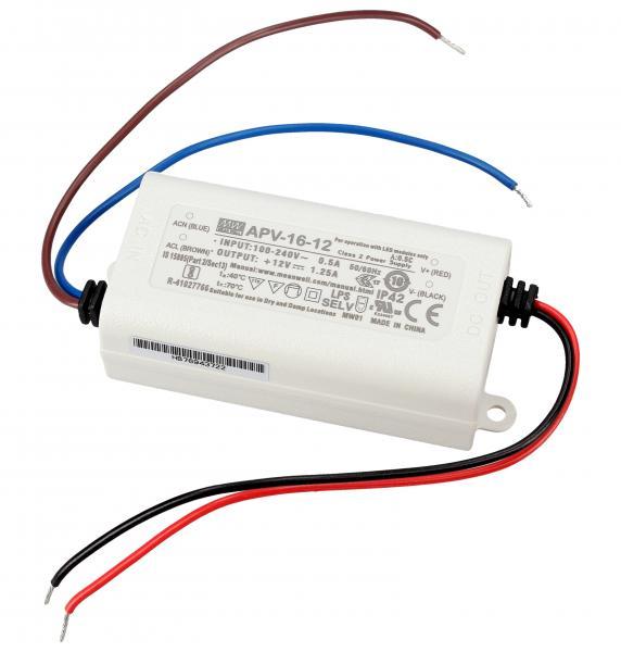APV1612 16W TRANSFORMATOR FÜR STANDARD-LED 90-264V/AC/12VDC MEAN WELL,0