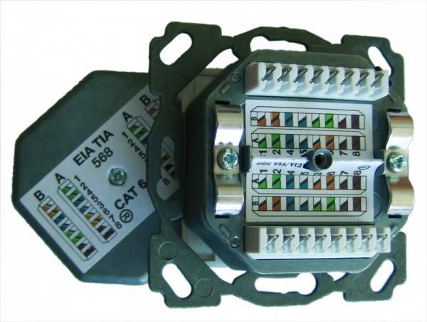 501417 SESIX NETZWERKDOSE CAT6A, 2XRJ45, HZUP, DESIGN, PW, SETEC SETEC,0