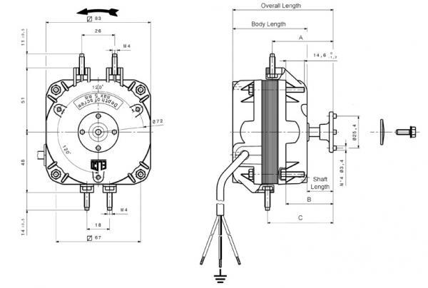 silnik wentylatora uniwersalny 25w, 230-240v, 50-60hz, elco,0