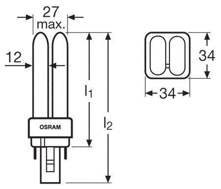 DULUXD10W827 KOMPAKTLEUCHTSTOFFLAMPE, G24D-1, 10 W, OSRAM,1