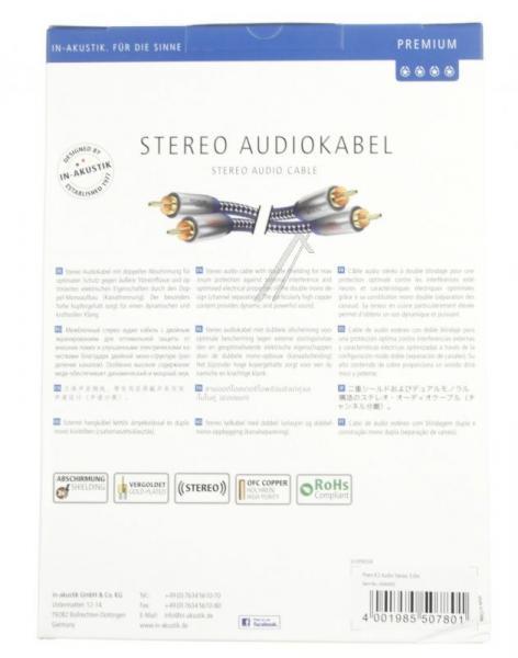 Kabel CINCH 3m (wtyk x2/ wtyk x2) | (Premium II) Inakustik 0040403,3