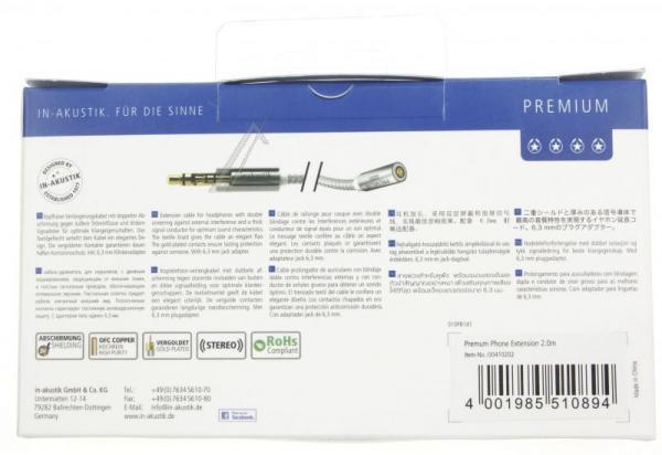 Kabel Jack 3,5mm stereo (gniazdo/ wtyk)   (Premium II) Inakustik 00410202,3