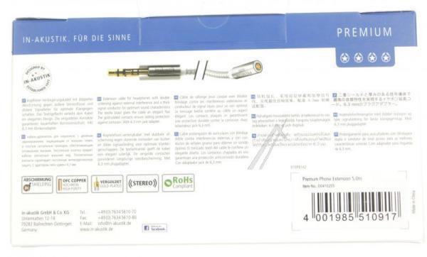 Kabel Jack 3,5mm stereo (gniazdo/ wtyk) | (Premium II) Inakustik 00410205,3