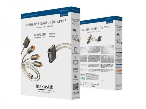 Kabel APPLE - CINCH (wtyk//USB wtyk x3/wtyk) | (złocony) Inakustik 00440101,1