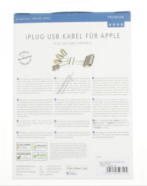 Kabel APPLE - CINCH (wtyk//USB wtyk x3/wtyk) | (złocony) Inakustik 00440101,3