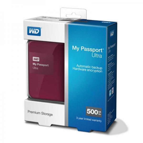 "WDBWWM5000ABYEESN MYPASSPORTULTRA 500GB 2,5\""/USB3.0 FESTPLATTE, RD WESTERN DIGITAL,2"