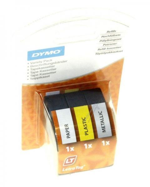 S0721800 Zestaw startowy taśm do etykiet dla LetraTAG, 12mm/4mm, 3szt. DYMO,0