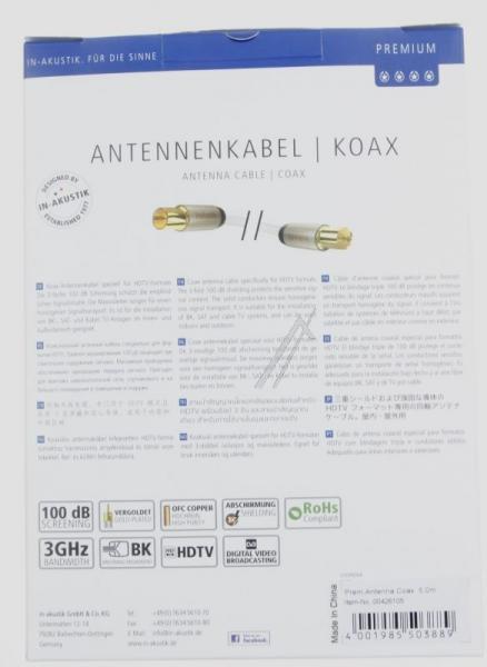 Kabel antenowy 5m Inakustik (wtyk/gniazdo),3