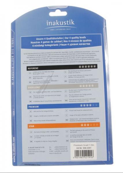 Kabel SCART (wtyk/ wtyk) | (płaski) Inakustik 0042201,2