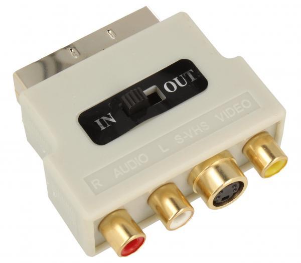 Adapter przełącznik SCART - CINCH (wtyk//S-VIDEO gniazdo x3/gniazdo) | (złocony/z przełącznikiem) Inakustik 008323,0
