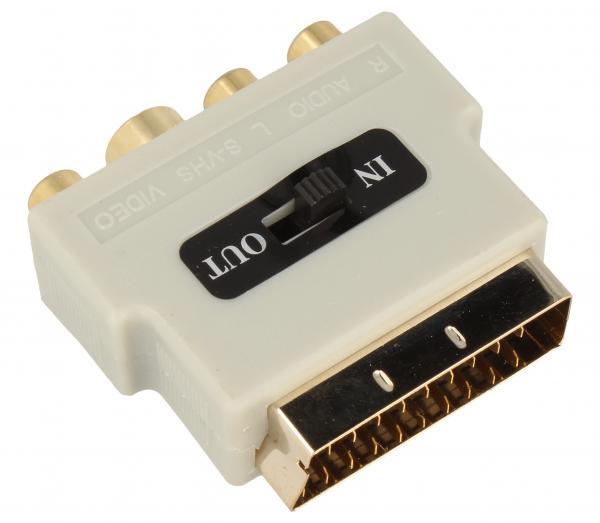 Adapter przełącznik SCART - CINCH (wtyk//S-VIDEO gniazdo x3/gniazdo) | (złocony/z przełącznikiem) Inakustik 008323,1