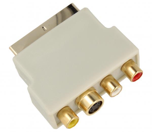 Adapter przełącznik SCART - CINCH (wtyk//S-VIDEO gniazdo x3/gniazdo) | (złocony/z przełącznikiem) Inakustik 008323,2