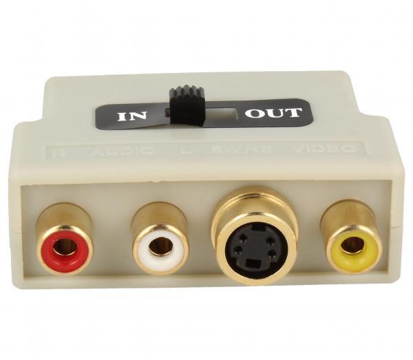 Adapter przełącznik SCART - CINCH (wtyk//S-VIDEO gniazdo x3/gniazdo) | (złocony/z przełącznikiem) Inakustik 008323,3
