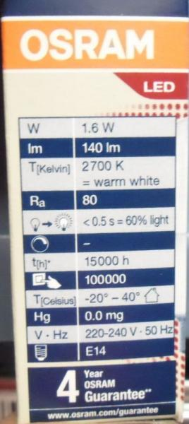 Lampa | Żarówka LED E14 PT261,6W827220240VFRE14,1