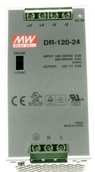 DR12024 24VDC5000MA120W HUTSCHIENENNETZTEIL MEAN WELL,0