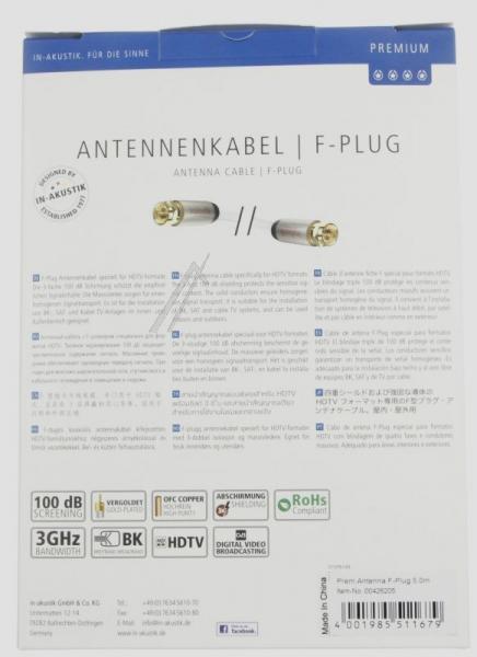 Kabel antenowy Złącze F 5m Inakustik (wtyk/wtyk),2