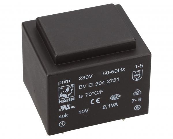 BVEI3042751 10V210MA PRINTTRAFO 230V EI30 2,1VA 32,5X27,5X26,5MM,0