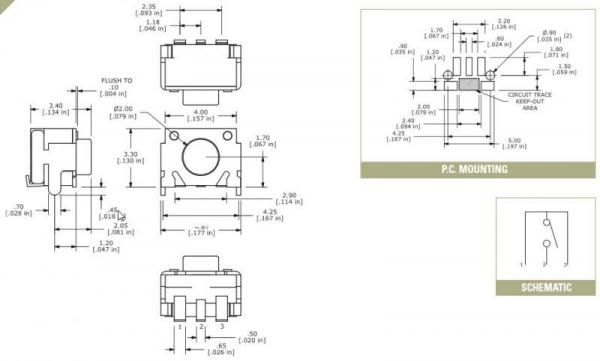 TL3340AF160QG mikroprzełącznik 12V-50mA  3,3x4,0mm, wysokość obudowy 3,4mm,0