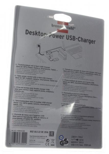 1153500222 DESKTOP-POWER USB-CHARGER MIT 2X USB-2.0-LADER 2100MA 2-FACH BRENNENSTUHL,2