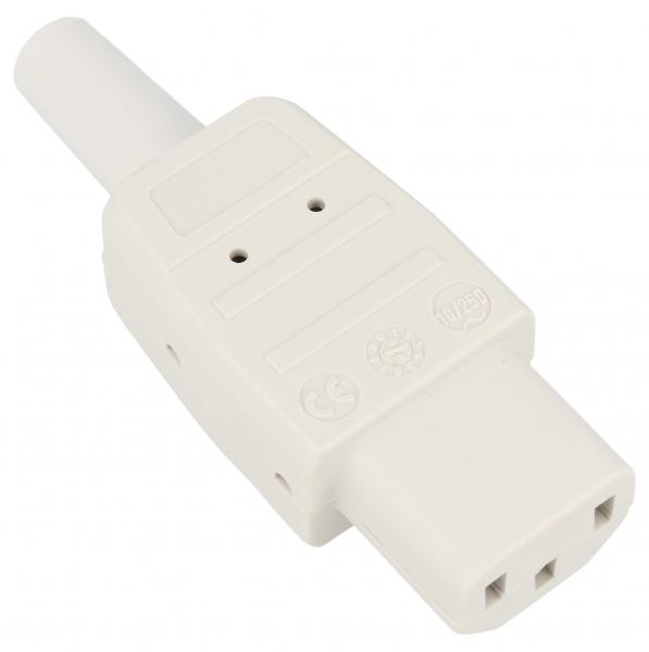 915970 C13 Wtyk prosty C13, PC biały BACHMANN,0