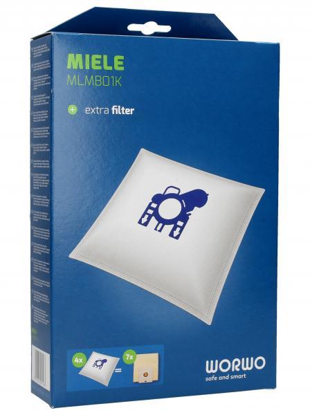 Worki Perfect Bag Worwo (4szt.) + filtr wlotowy (1szt.) do odkurzacza Miele MLMB01K,1