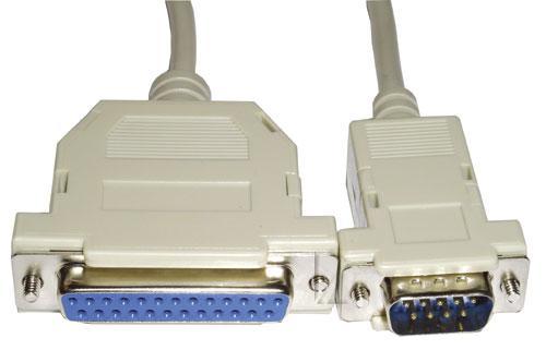 Kabel 2m COM 9 pin - LPT (wtyk/ 25 pin gniazdo) standard,0