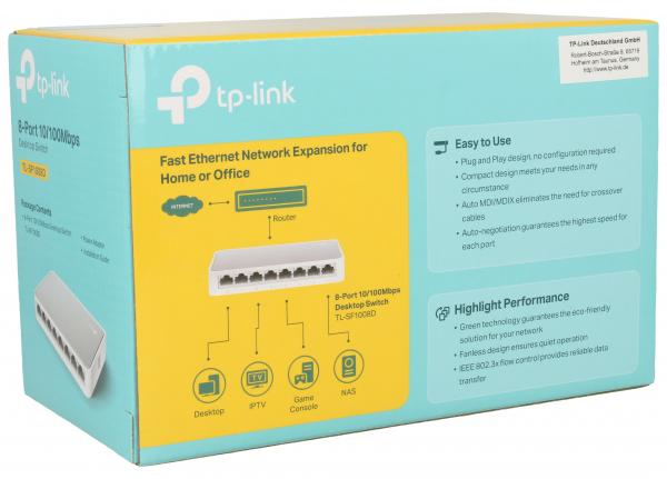 Switch LAN 8 portów TP-Link TLSF1008D,1